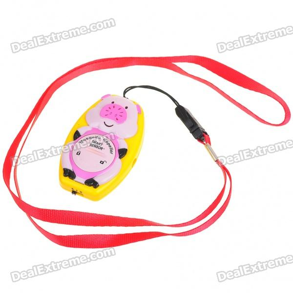 Pig Shaped Ultrasonic Mosquito Repeller with Neck Loop & Hand Strap - Yellow + Pink (1*CR2032) ao 149 portable plastic ultrasonic wave mosquito repeller black