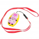 Pig Shaped Ultrasonic Mosquito Repeller with Neck Loop & Hand Strap - Yellow + Pink (1*CR2032)