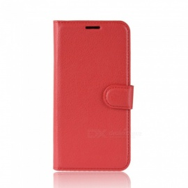 Lychee Pattern Protective Flip Open Case For Xiaomi 8 8 Se, Cell Phone Full Body Case Cover With Stand, Card Slots Red/xiaomi 8 se