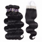 4 Bundles Malaysian Body Wave Human Hair With Closure, Swiss Lace 100% Non Remy Human Hair Lace Closure 12 12 14 14 closure10Middle Part