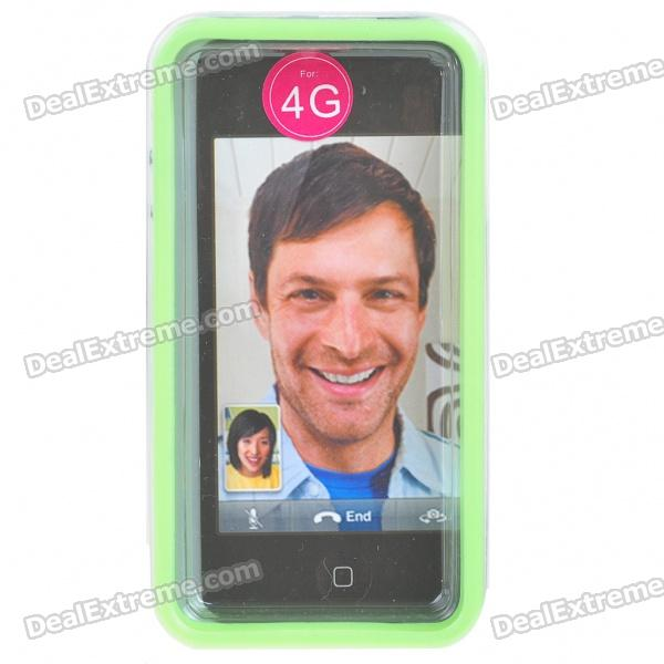 Stylish Protective Bumper Frame Cover Case for Iphone 4 - Green + Transparent