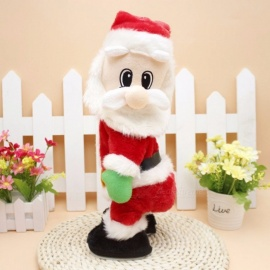 Christmas Electric Santa Claus Toys Dynamic Shaking Hip Music Electric Doll Toys Christmas Decorations Gifts Red