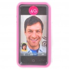 Stylish Protective Bumper Frame Cover Case for Iphone 4 - Pink + Transparent