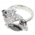 Elegant Fashion Imitated Diamond + Copper Alloy Ring - Silver + Black (7#)
