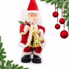 Christmas Santa Claus Bell Toys Dynamic Music Electric Doll Toys Christmas Decorations Gifts Red