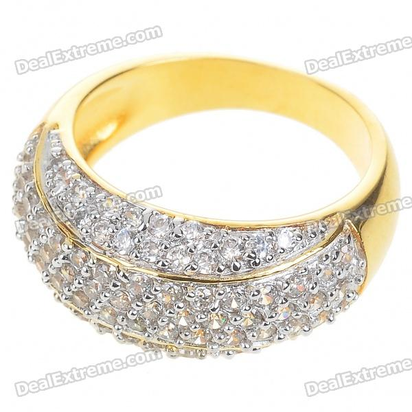 Elegant Fashion Crystal + Copper Alloy Ring - Gold (US 7#)