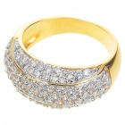 Elegant Fashion Imitated Diamond + Copper Alloy Ring - Gold (7#)