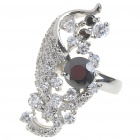 Elegant Fashion Crystal + Copper Alloy Ring - Silver + Black (8#)
