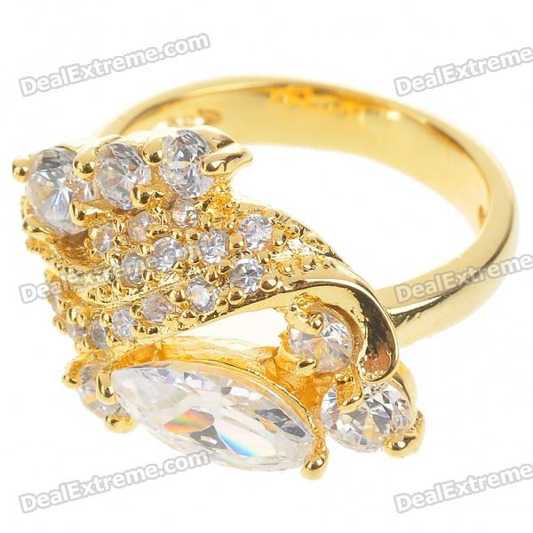 Elegant Fashion Crystal + Copper Alloy Ring - Gold (5#)