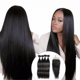 Indian Straight Human Hair 4 Bundles With Closure, Free Middle Three Part Lace Closure With Baby Hair Non Remy Hair Weft 24 24 24 24 closure18/Free Part