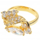 Elegant Fashion Crystal + Copper Alloy Ring - Gold (7#)