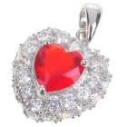 Elegant Synthetic Crystal + Copper Alloy Necklace Pendant - Silver + Red