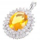 Elegant Synthetic Crystal + Copper Alloy Necklace Pendant - Silver + Golden Yellow