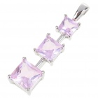 Elegant Synthetic Crystal + Copper Alloy Necklace Pendant - Silver + Pink