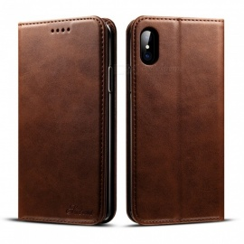 Retro Leather Case Flip Wallet Phone Cover For IPHONE X, Case With Photo Frame Card Holder, Stand Function Dark Brown/Leather