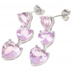 Elegant Synthetic Crystal + Copper Alloy Earrings - Silver + Pink (Pair)