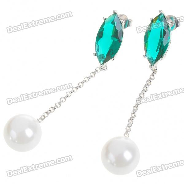 Elegant Synthetic Crystal + Pearl + Copper Alloy Earrings - Silver + Green + White (Pair)