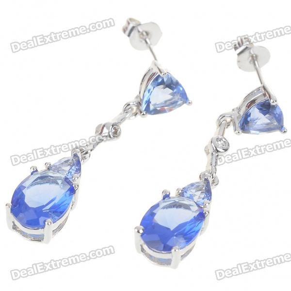 Elegant Synthetic Crystal + Copper Alloy Earrings - Silver + Blue (Pair)