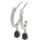 Elegant Synthetic Crystal + Copper Alloy Earrings - Silver + Black (Pair)