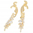 Elegant Crystal + Copper Alloy Earrings - Gold (Pair)