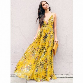Fashion Style Summer Bohemian Style Floral Long Maxi Spaghetti Strap Empire Dress Beach Dress Sundress Green/S