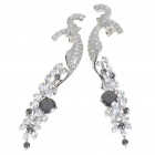 Elegant Crystal + Copper Alloy Earrings - Silver + Black (Pair)
