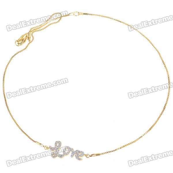 Exquisite Crystal + Copper Alloy Necklace - Love (Gold)