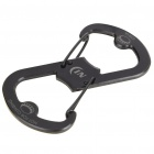 Beer Soda Bottle Opener with Carabiner Clip - Black