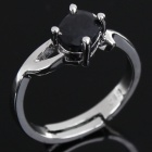 Stylish Copper Alloy Ring - Silver + Black (Size 7)