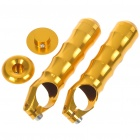 Fashion Bicycle Bike Aluminium Alloy Handlebar HandGrip - Gold (Pair)