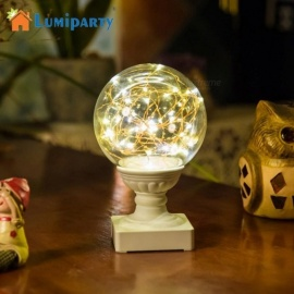 Romantic Night Light Fiery Trees Silver Flowers LED Small Ball Moon Lamp With Round Pedestal Home Decoration Gift Warm White/White