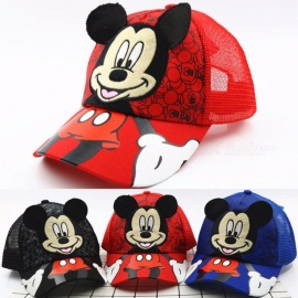 Cartoon Micky Mouse Pattern Mesh Baseball Cap Sun Hat Outdoor Beach Kids Hat Black