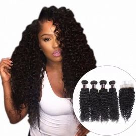 Indian Curly Lace Closure, 100% Human Hair 4 Bundles With Closure, 4*4 Free Part Natural Color Non Remy Hair Weaves 18 18 18 18 closure16/Middle Part