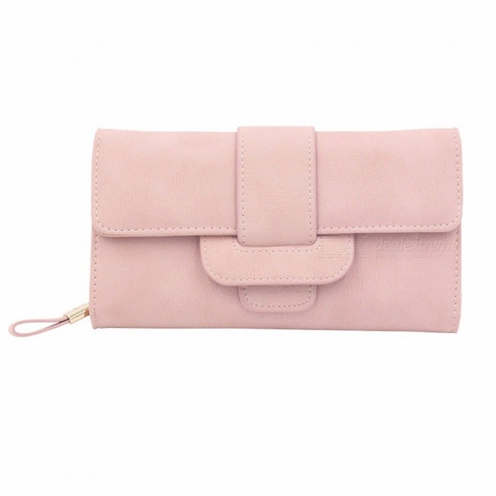 Korea Version Women Wallets Matte Leather Wallet Fashion Long Section Purse Card Holder Coin Bag Black