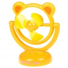 USB/3*AA Powered Cute Bear Style 3-Blade Cooling Desk Fan - Yellow