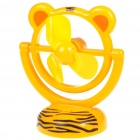 USB/3*AA Powered Cute Tiger Style 3-Blade Cooling Desk Fan - Yellow