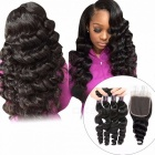 Loose Wave 4 Bundles With Closure, Baby Hair Swiss Lace, 100% Malaysian Human Hair Bundles With Closure 10 10 10 10 closure10Three Part