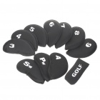 Soft Neoprene Golf Club Iron Putter Head Cover Set - Black (11-Piece)