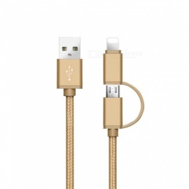 SZKINSTON 2 in 1 V8 Micro USB and Lightning Male to USB3.0 Male High Speed Charging Sync Data Cable - Gold