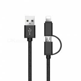 SZKINSTON 2 in 1 V8 Micro USB and Lightning Male to USB3.0 Male High Speed Charging Sync Data Cable - Black