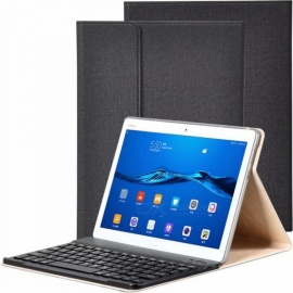 Durable Leather Tablet Case with Keyboard for Huawei M3 Youth Edition 10.1 Inches - Black