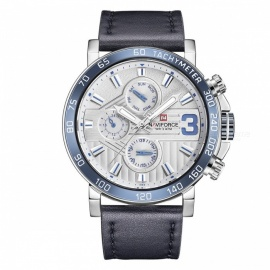 NAVIFORCE 9137 Men's Sports Leather Wrist Strap Analog Quartz Watch - Silver + Blue (Without Gift Box)