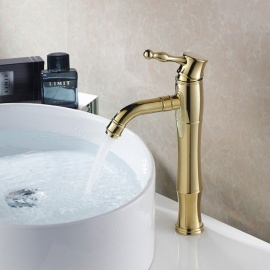 Brass Ti-PVD Ceramic Valve Single Handle One-Hole Bathroom Sink Faucet