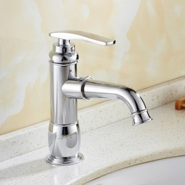 Brass Chrome Ceramic Valve Single Handle One-Hole Bathroom Sink Faucet