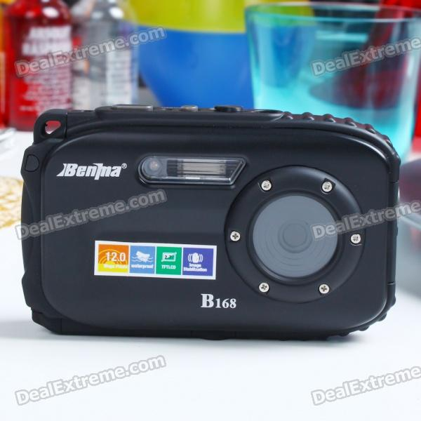 "Waterproof 5.0MP CMOS Compact Digital Camera w/ 8X Digital Zoom/TF Slot/Mini USB - Black (2.7"" LCD)"