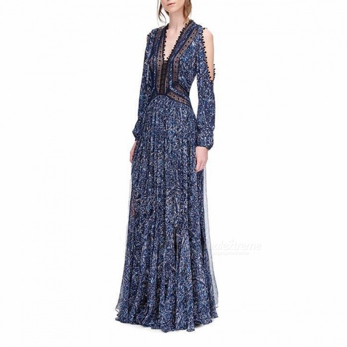 Fashion | Sleeve | Dress | Women | Neck | Lace | Navy | Blue