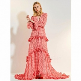 Vintage Plaid Layered Dress Long Sleeves Retro Evening Maxi Dress For Women Red/S