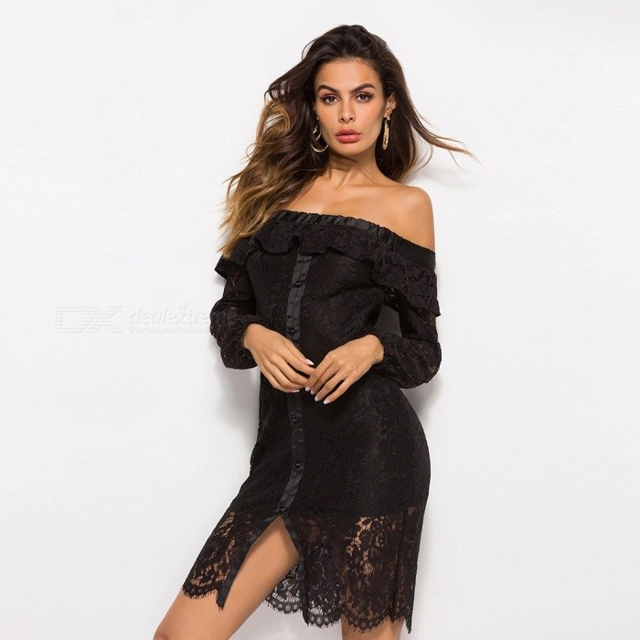 Sexy Lace Dress Boat Neck Hollow Out Long Sleeves Evening Dress Elegant  Clothes For Women Black M - Worldwide Free Shipping - DX f207e7a44