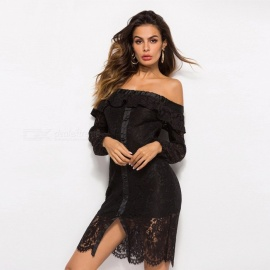 Sexy Lace Dress Boat Neck Hollow Out Long Sleeves Evening Dress Elegant Clothes For Women Black/M