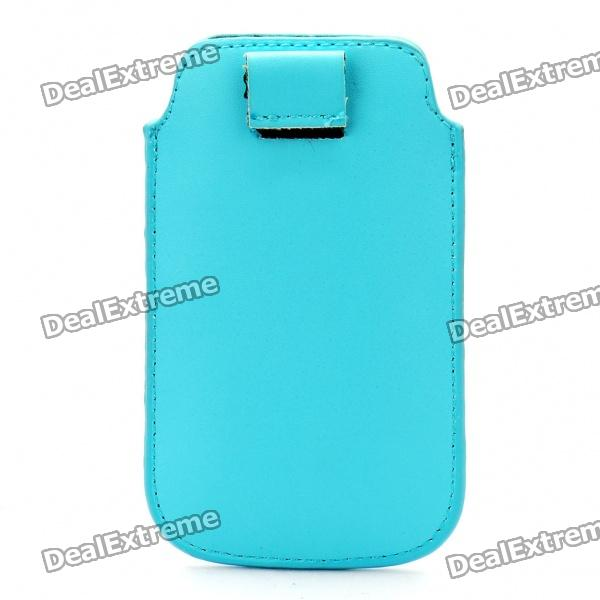 Protective PU Leather Case Pouch Bag for Iphone 3g/3GS/4 - Blue protective pu leather bag pouch with for iphone 5 blue white